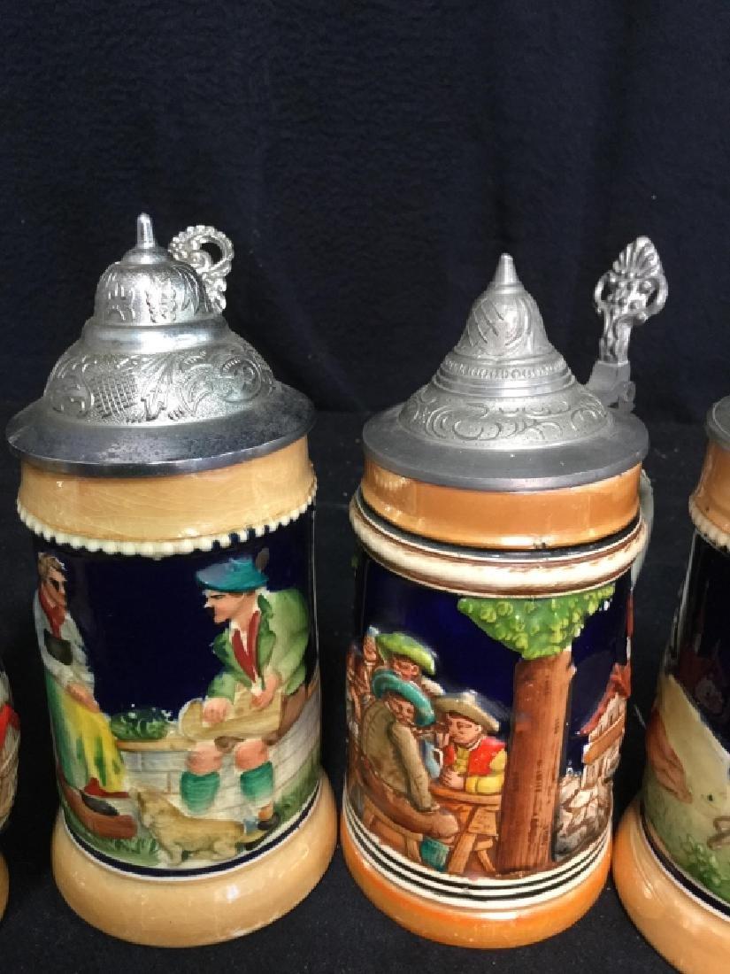 6 Lidded German Ceramic Beer Steins - 3