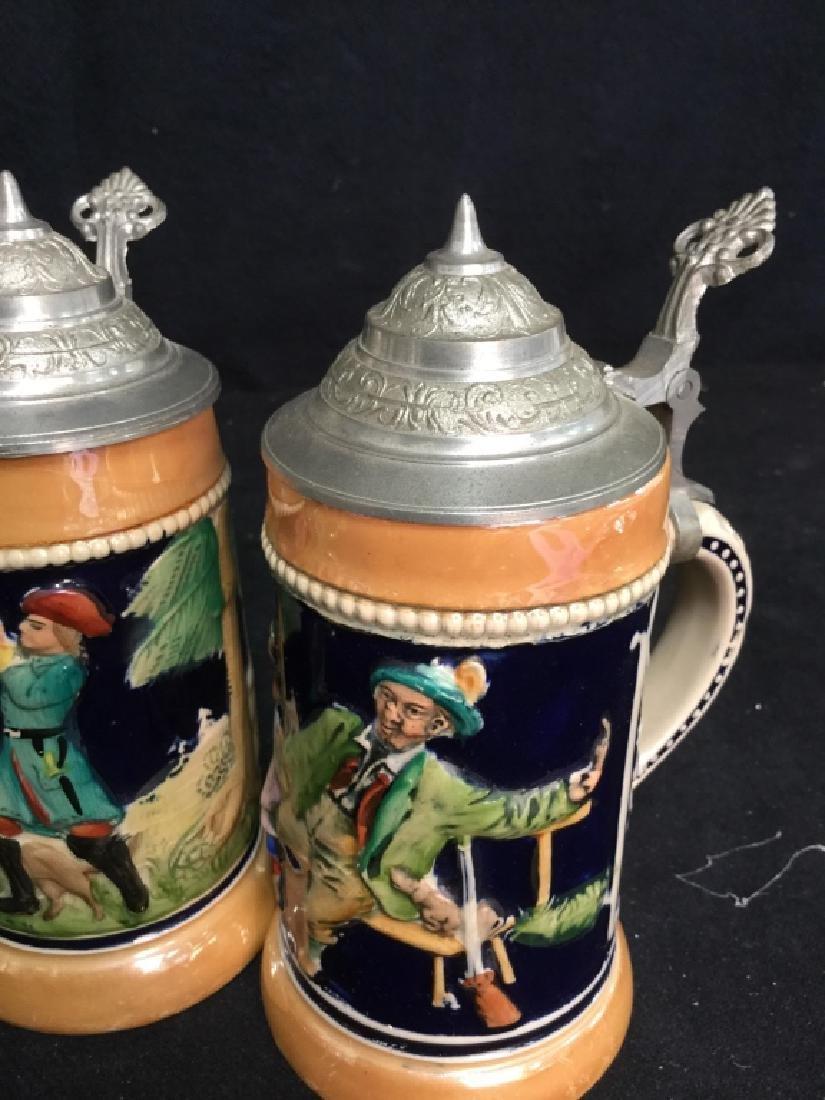 6 Lidded German Ceramic Beer Steins - 5