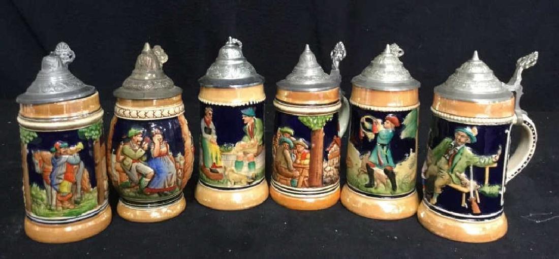 6 Lidded German Ceramic Beer Steins - 6