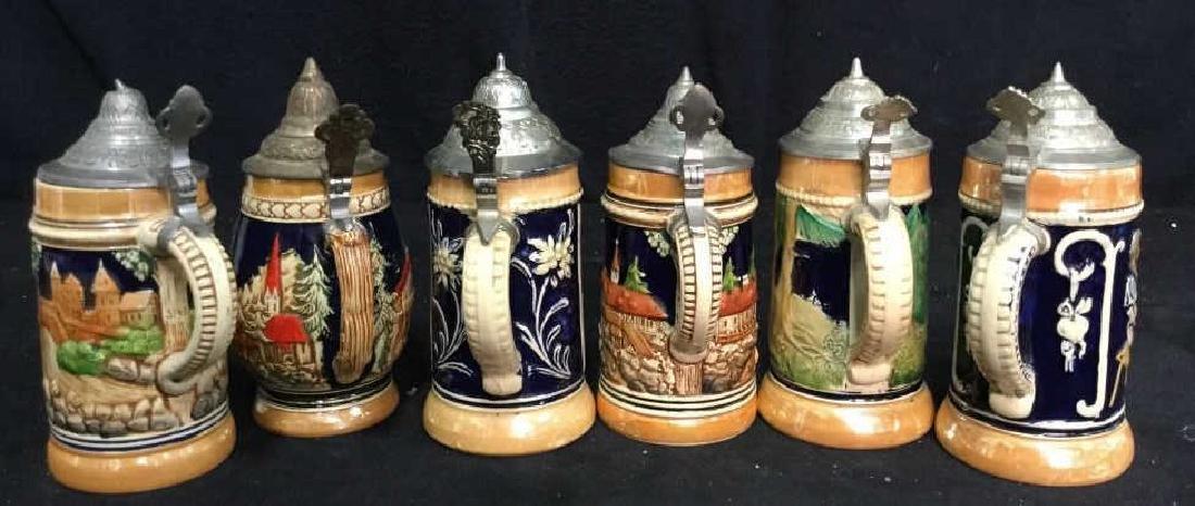 6 Lidded German Ceramic Beer Steins - 7