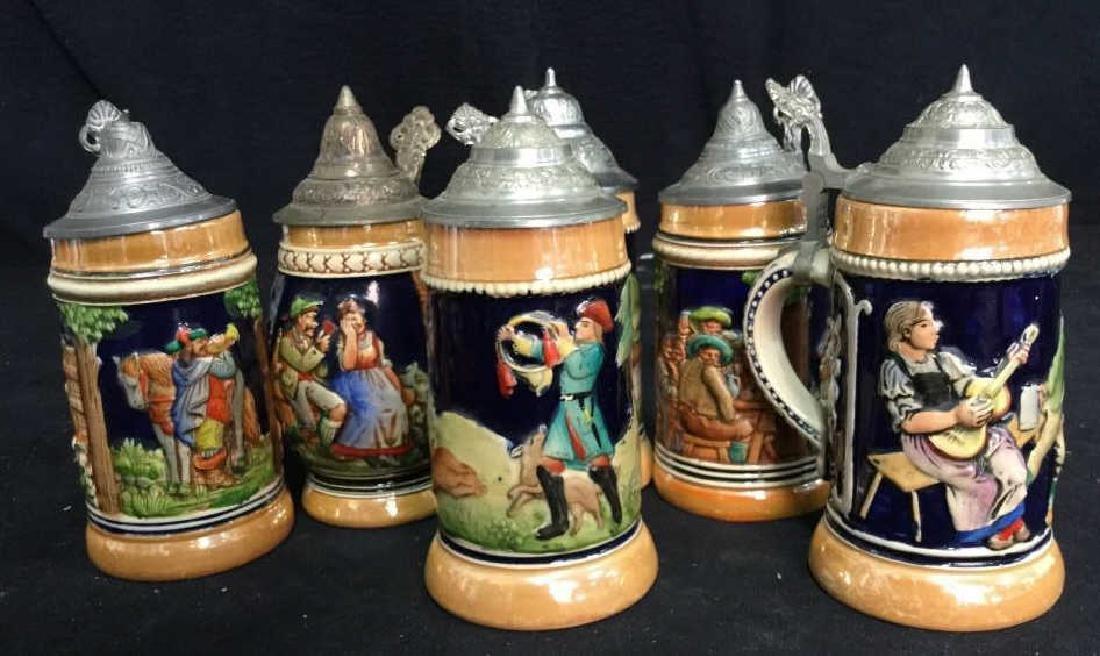 6 Lidded German Ceramic Beer Steins - 9