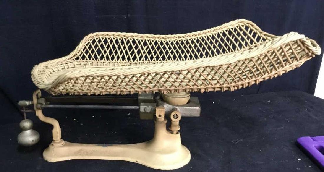 DETECTO-LETTE antique Iron Wicker Baby Scale - 10