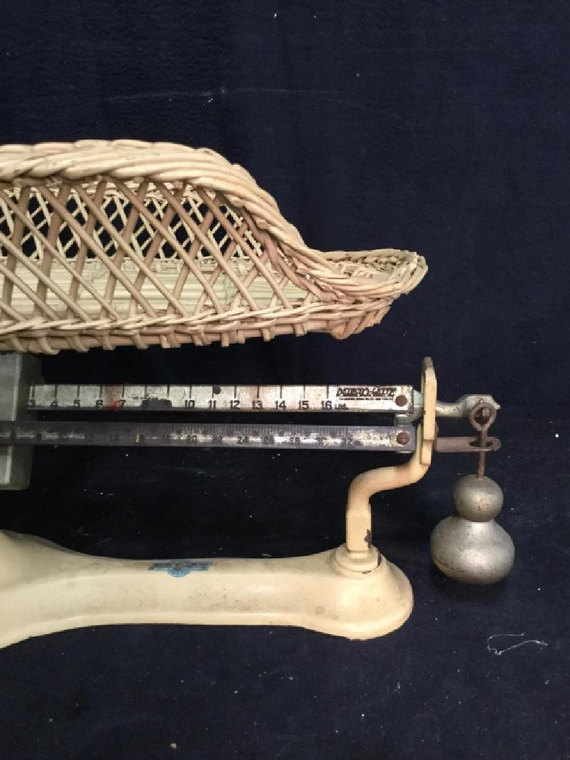 DETECTO-LETTE antique Iron Wicker Baby Scale - 5