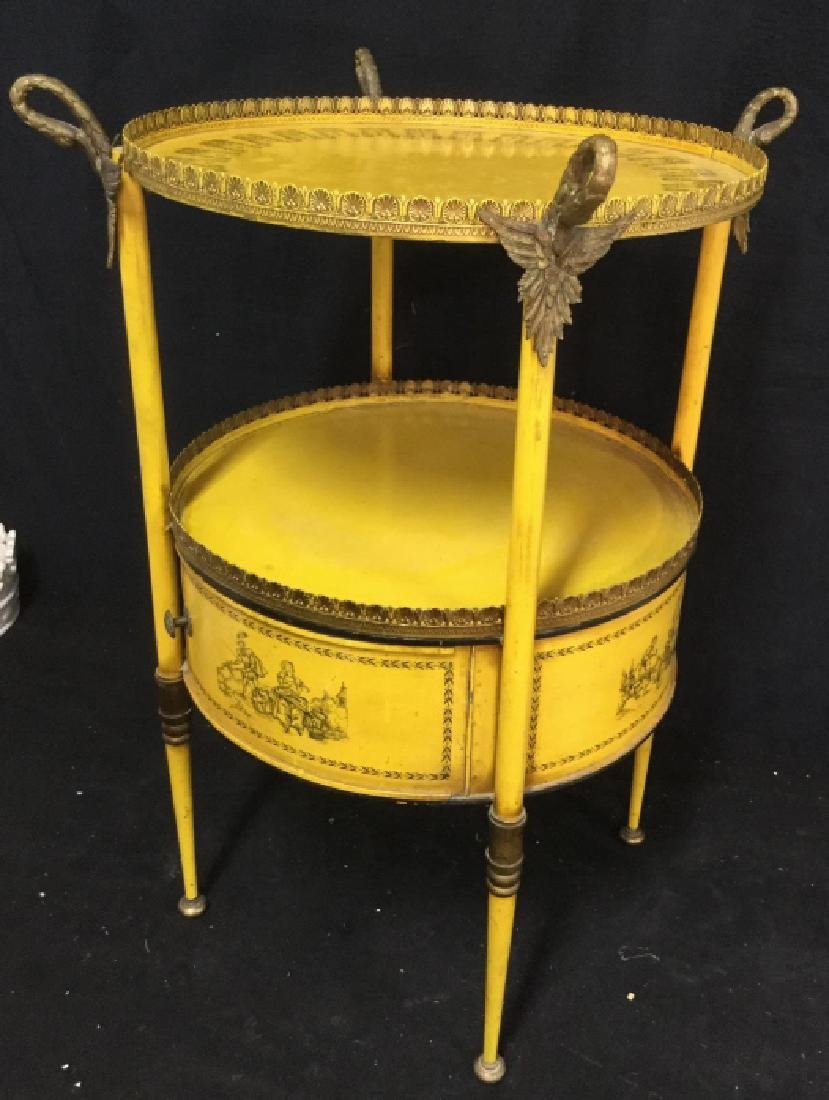 Antique Painted Tole Circular End Table