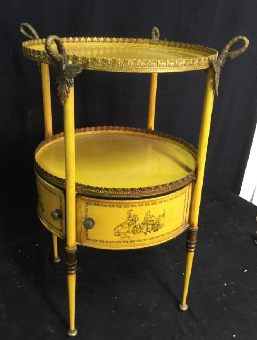Antique Painted Tole Circular End Table - 2