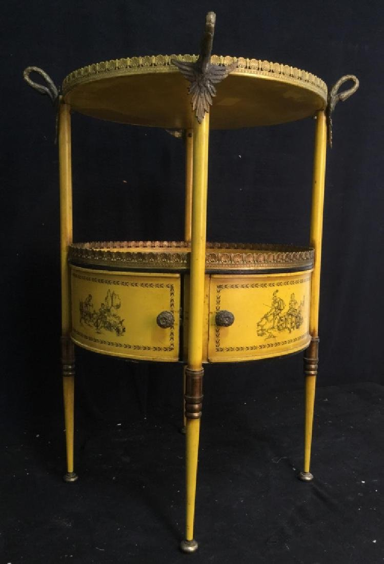 Antique Painted Tole Circular End Table - 3