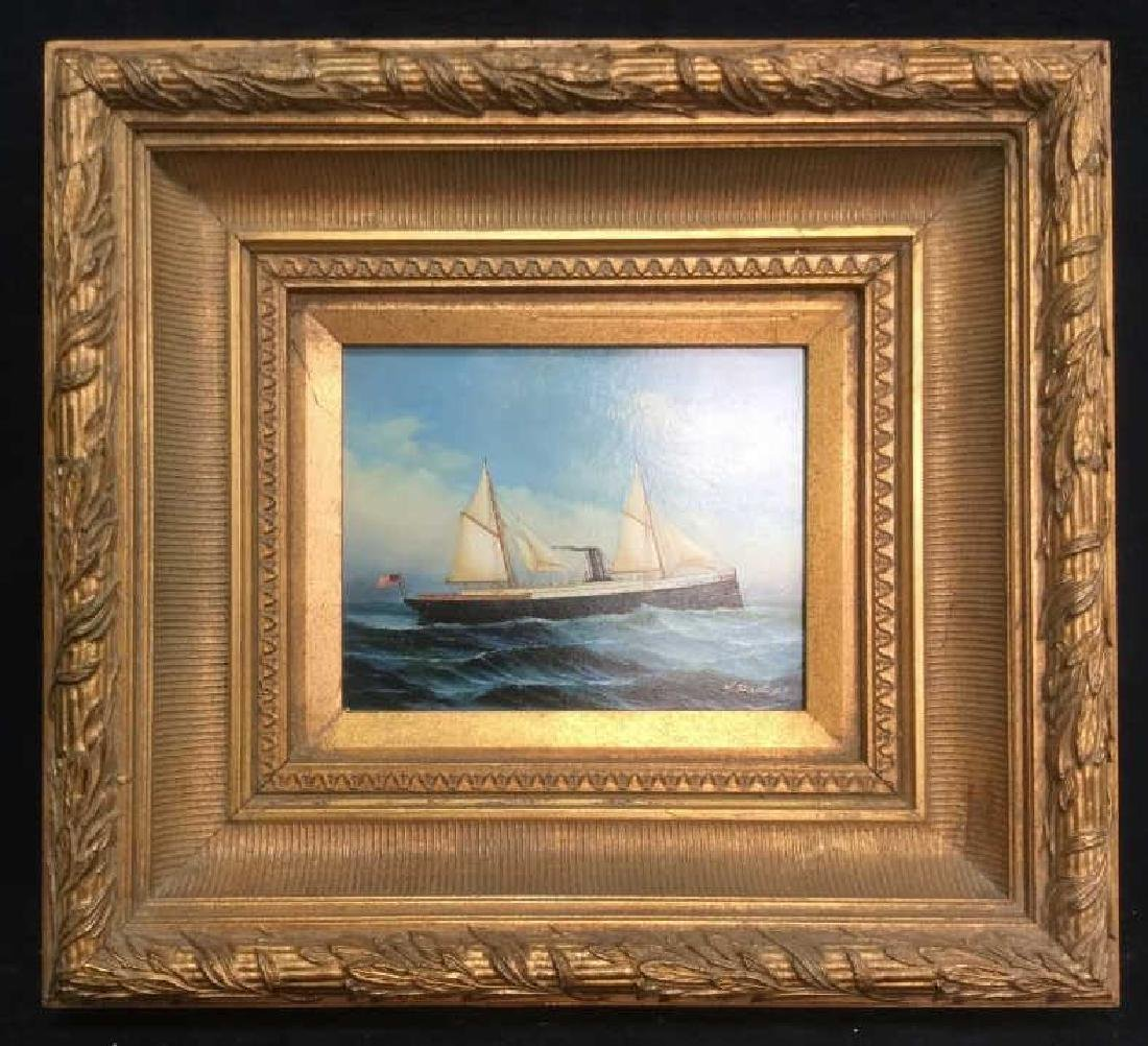 Y. PARKER, Antique Framed Maritime Oil Painting
