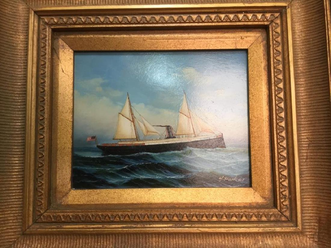 Y. PARKER, Antique Framed Maritime Oil Painting - 2