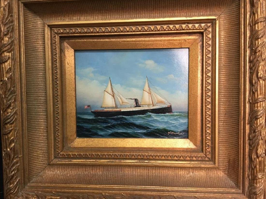 Y. PARKER, Antique Framed Maritime Oil Painting - 3