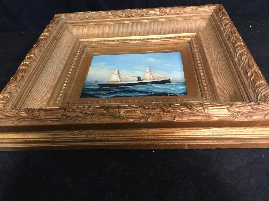 Y. PARKER, Antique Framed Maritime Oil Painting - 4