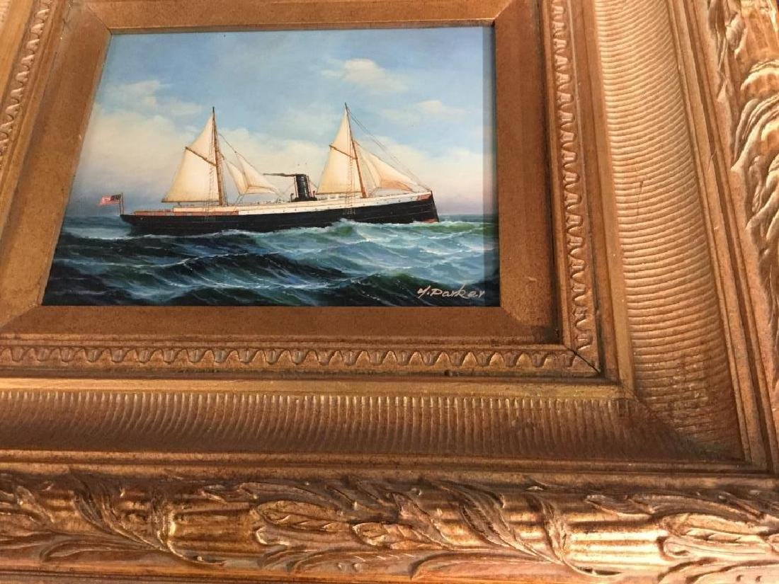 Y. PARKER, Antique Framed Maritime Oil Painting - 8