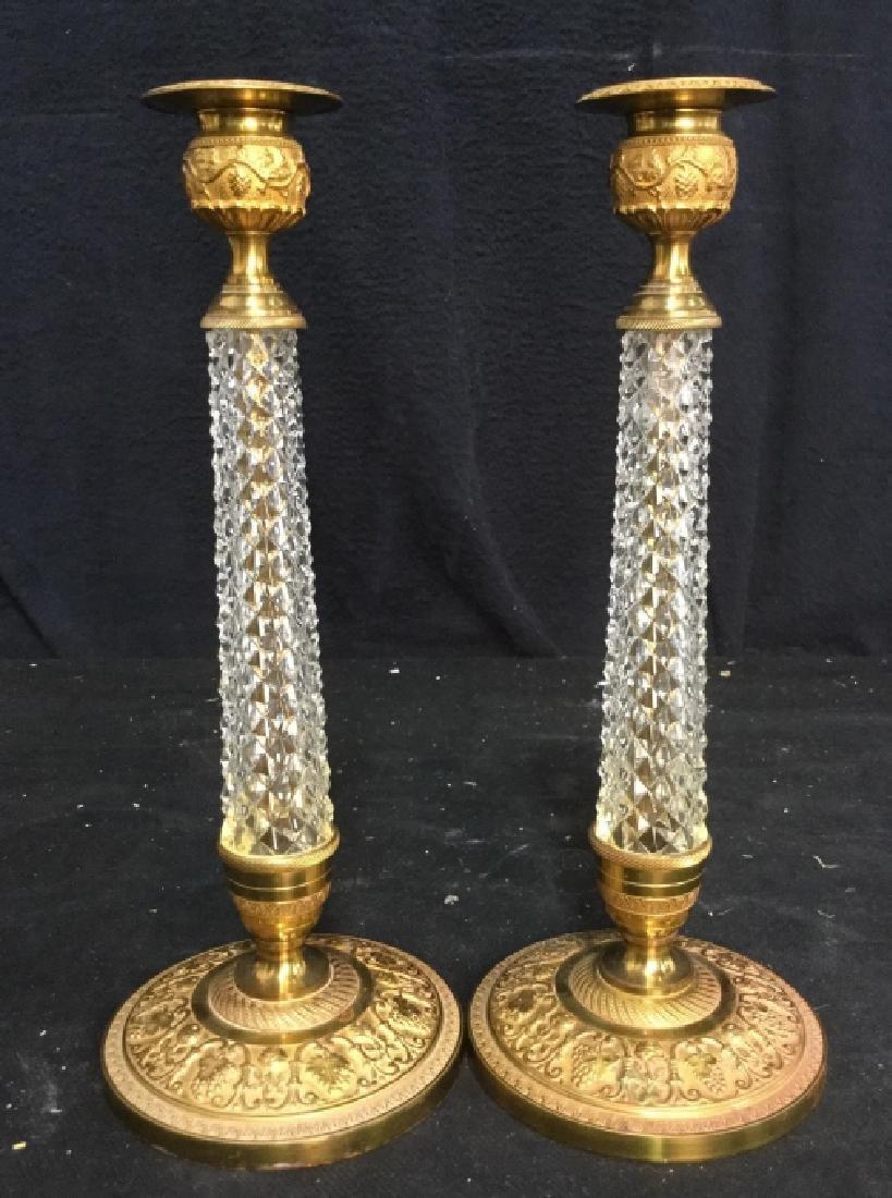 Pair Crystal and Ormolu Candlesticks