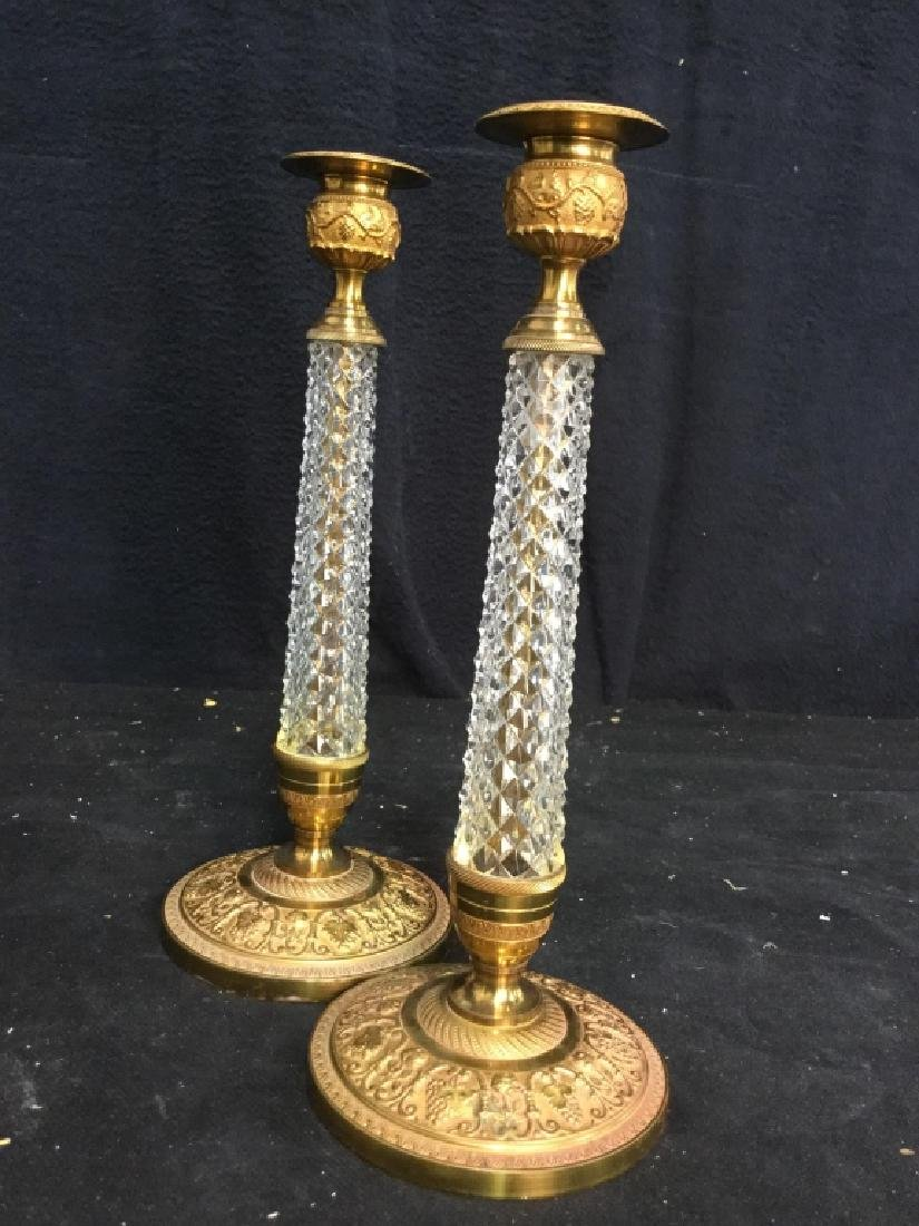 Pair Crystal and Ormolu Candlesticks - 8