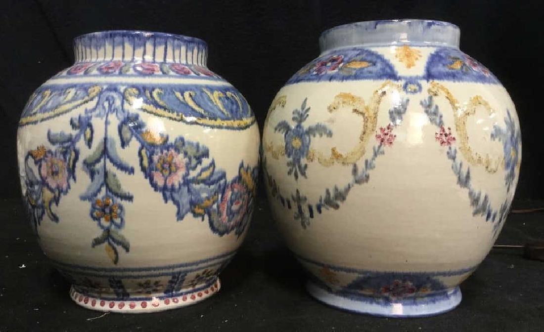 Pair hand painted Ceramic Vases Portugal