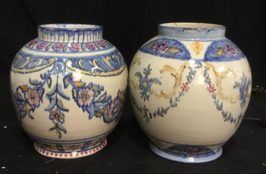 Pair hand painted Ceramic Vases Portugal - 2
