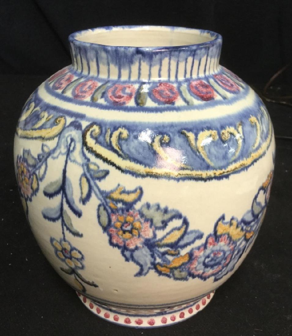 Pair hand painted Ceramic Vases Portugal - 4
