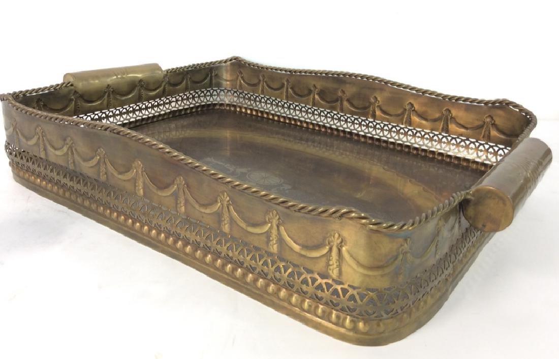 CASTILIAN Ornately Decorated Brass Toned Tray