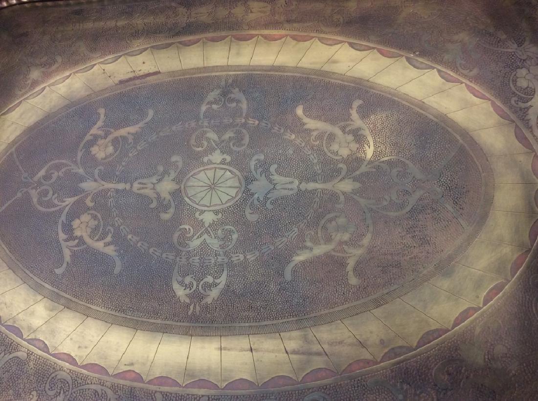 CASTILIAN Ornately Decorated Brass Toned Tray - 3
