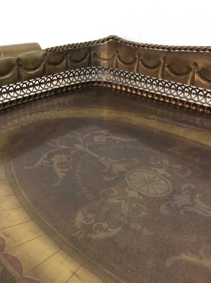 CASTILIAN Ornately Decorated Brass Toned Tray - 4