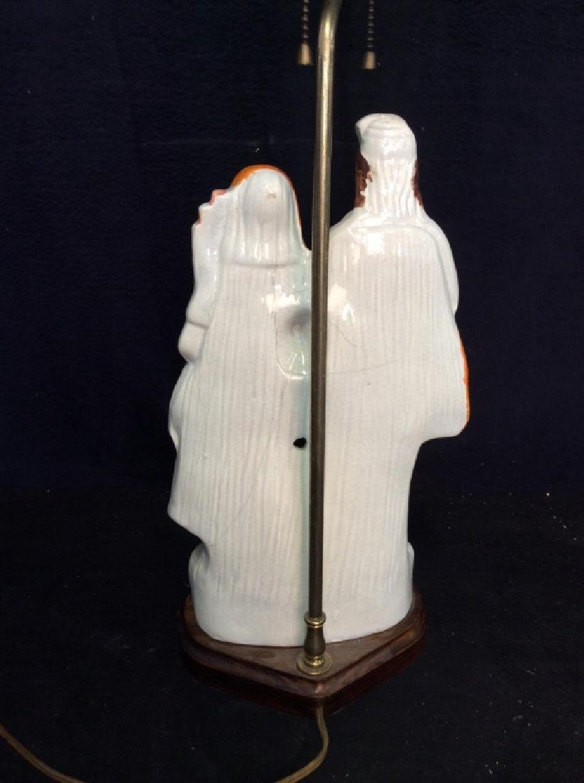 Porcelain Standing Couple Figural Lamp - 10