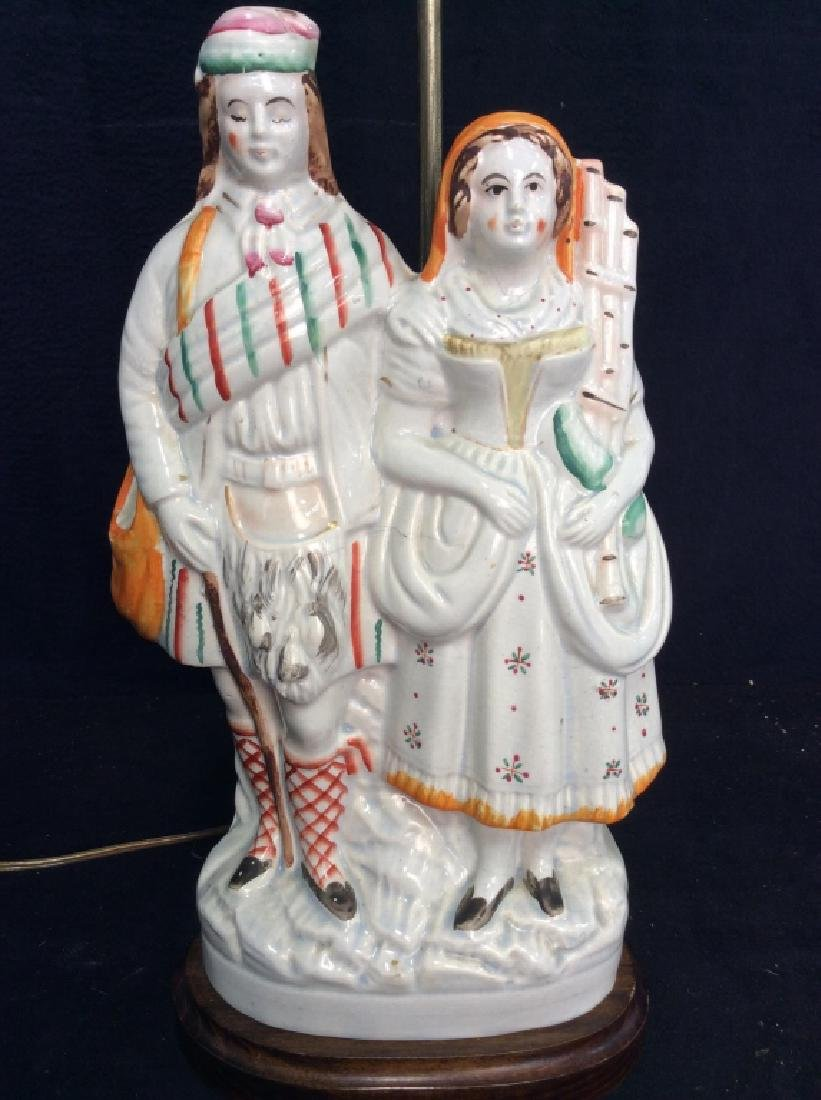 Porcelain Standing Couple Figural Lamp