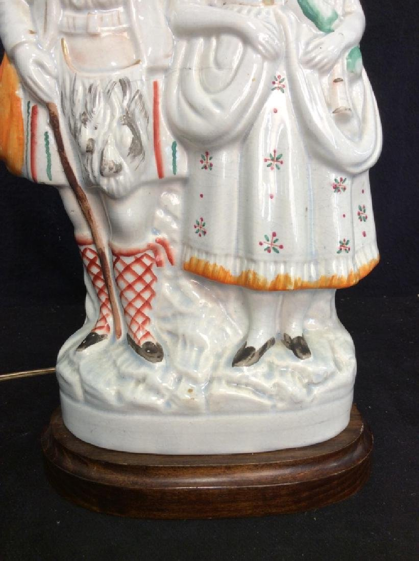 Porcelain Standing Couple Figural Lamp - 5