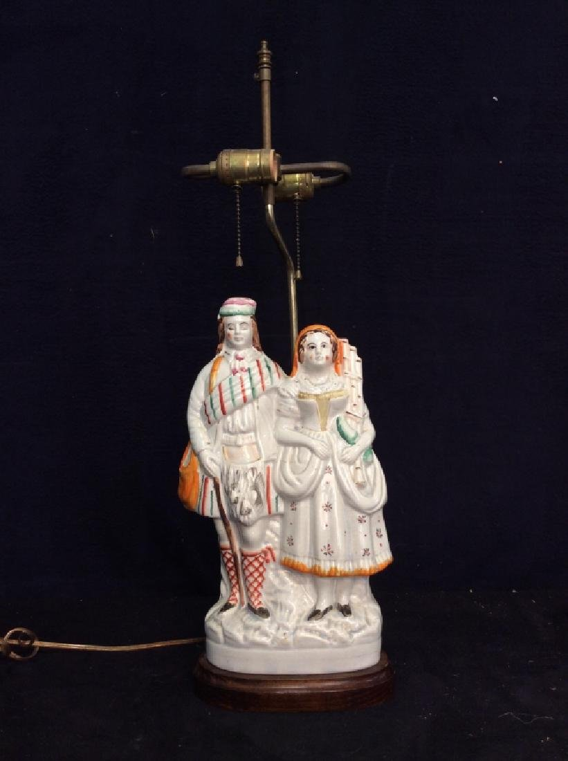 Porcelain Standing Couple Figural Lamp - 7
