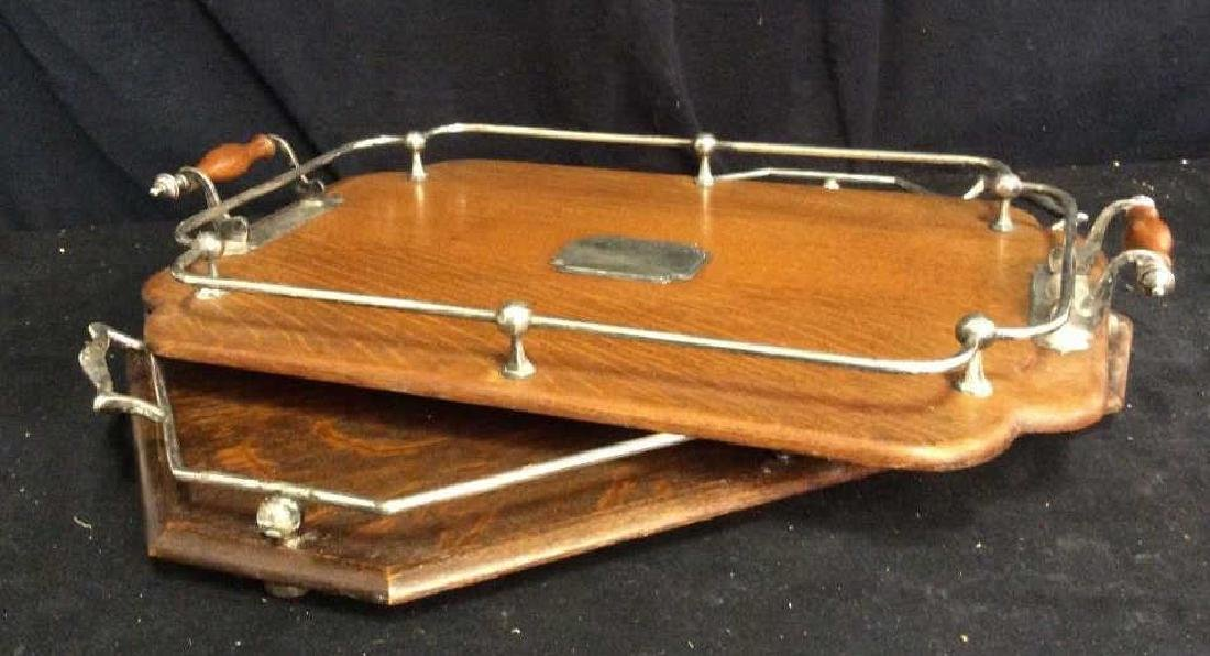 Set 2 Antique Oak and Silver Butler Trays