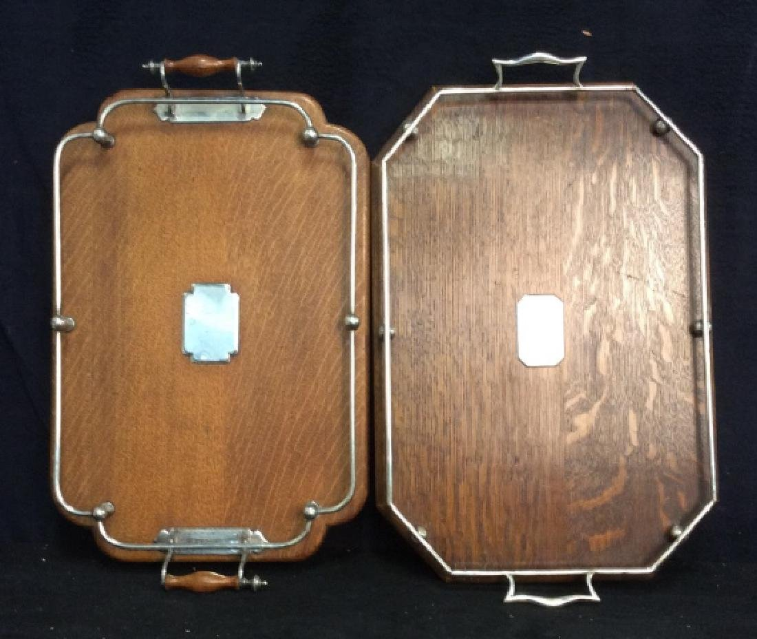 Set 2 Antique Oak and Silver Butler Trays - 2