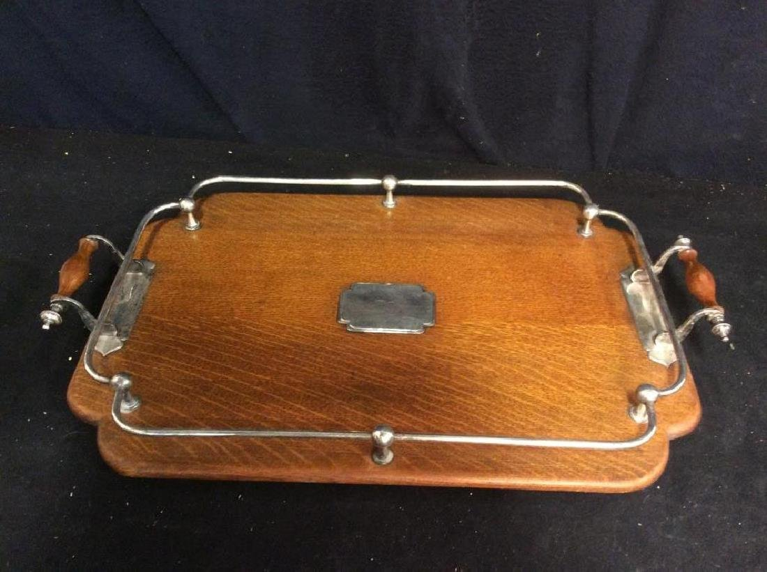 Set 2 Antique Oak and Silver Butler Trays - 5