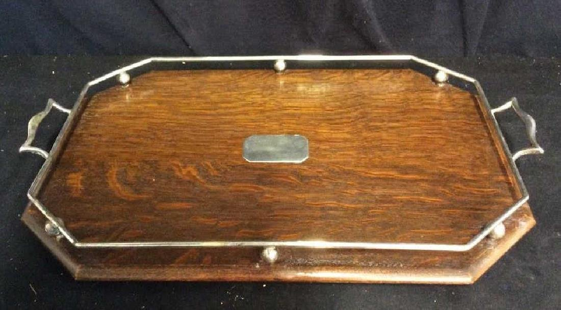 Set 2 Antique Oak and Silver Butler Trays - 8