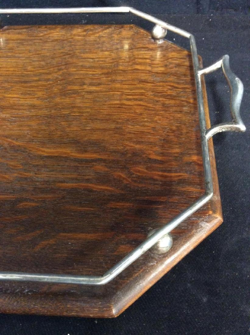 Set 2 Antique Oak and Silver Butler Trays - 9