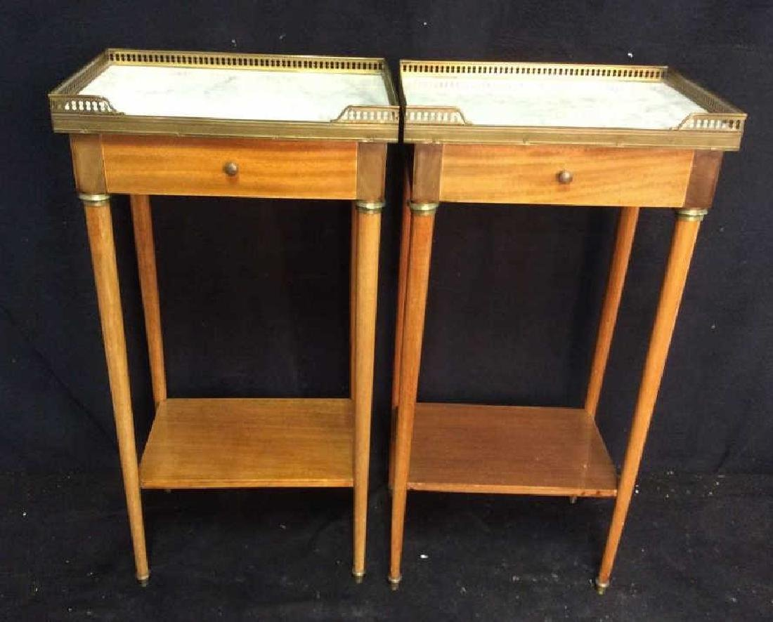 Pair Slim Lined Marble Brass Wood End Tables
