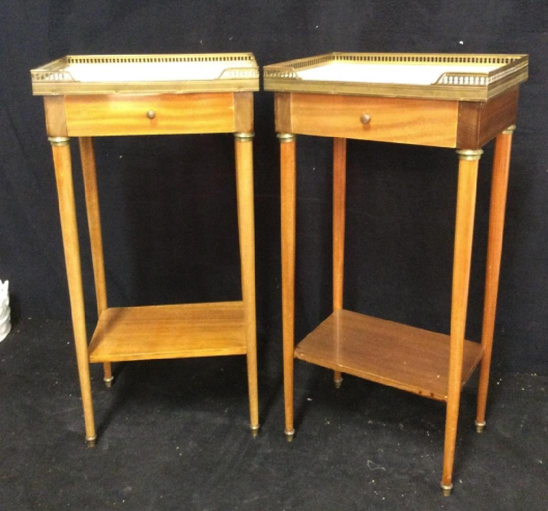 Pair Slim Lined Marble Brass Wood End Tables - 2