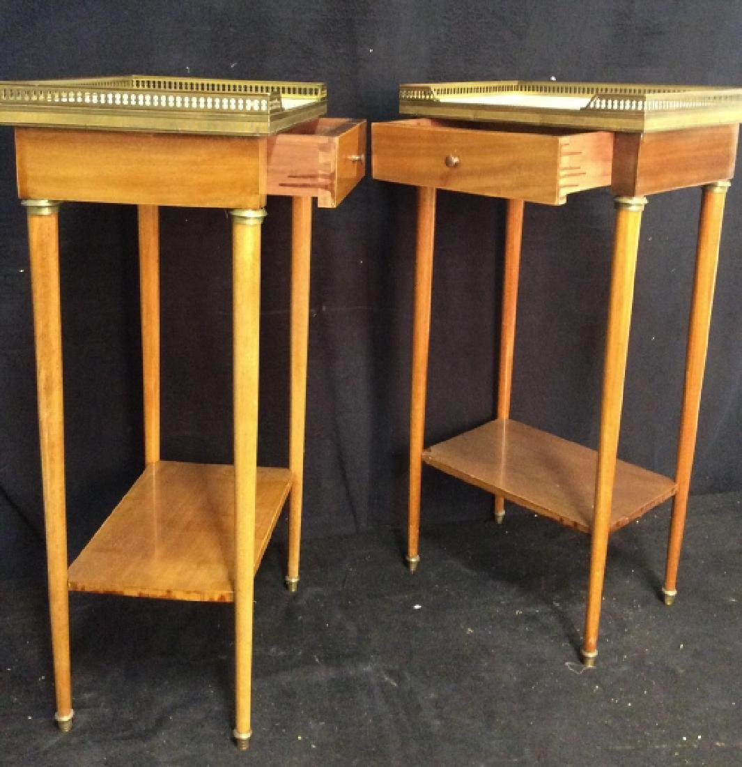 Pair Slim Lined Marble Brass Wood End Tables - 4