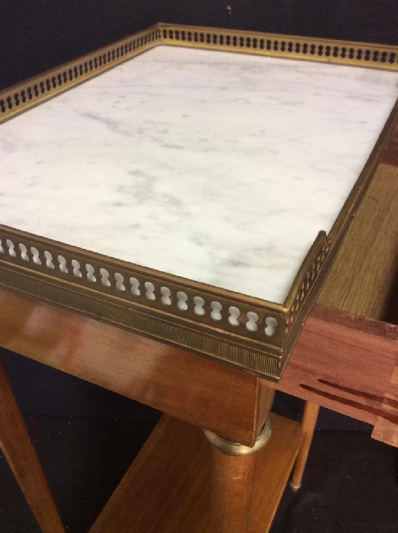 Pair Slim Lined Marble Brass Wood End Tables - 5