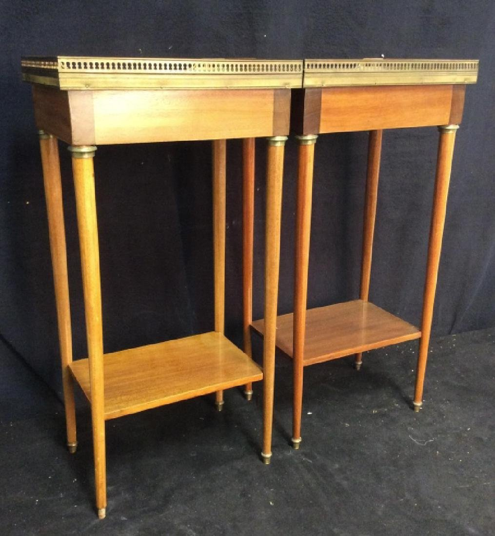 Pair Slim Lined Marble Brass Wood End Tables - 8