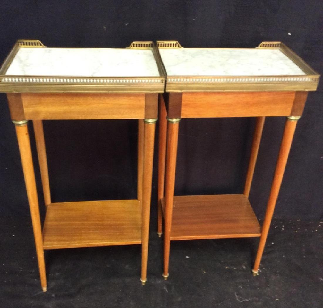 Pair Slim Lined Marble Brass Wood End Tables - 9