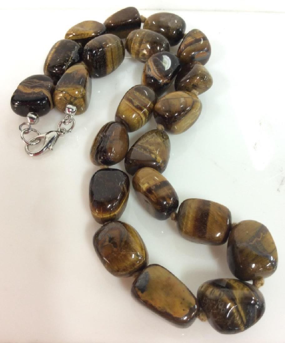 Tiger's Eye Natural Stone Beaded Necklace