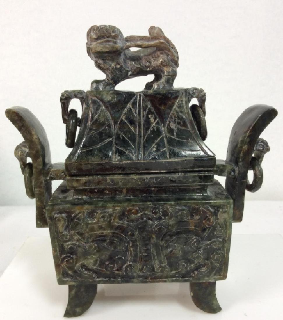 Carved Natural Stone Footed Dragon Vessel