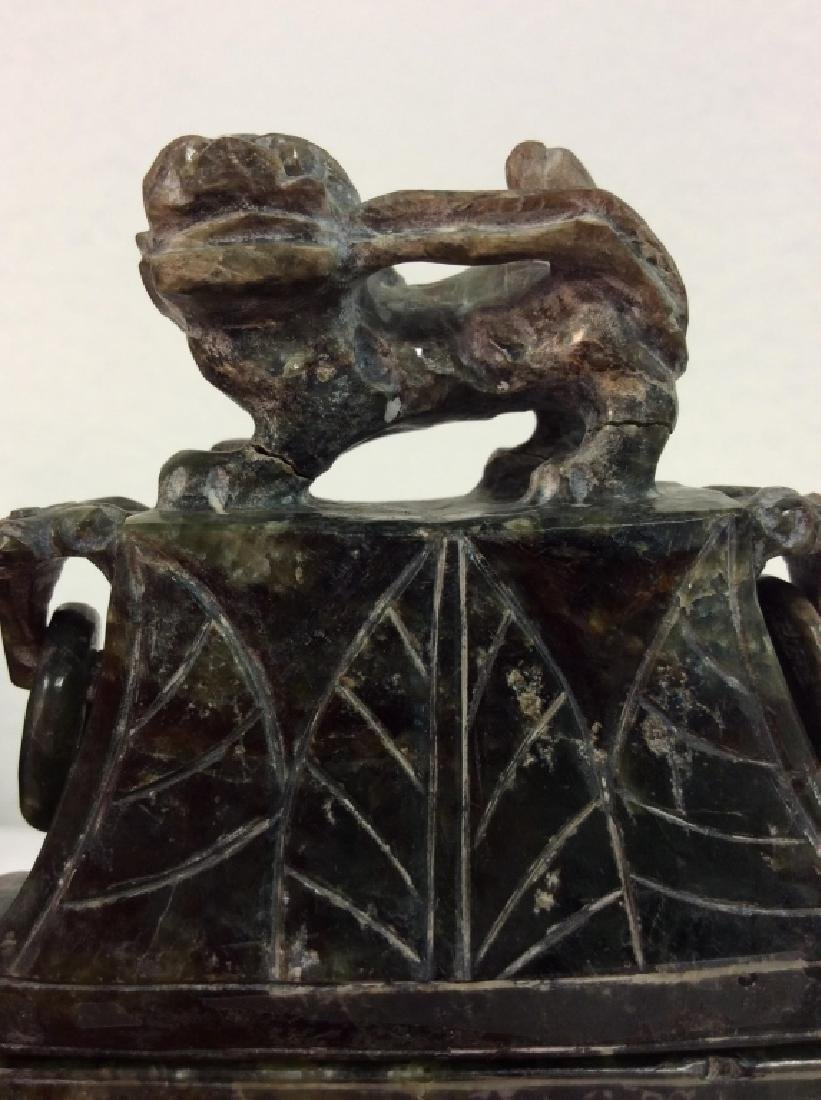 Carved Natural Stone Footed Dragon Vessel - 2