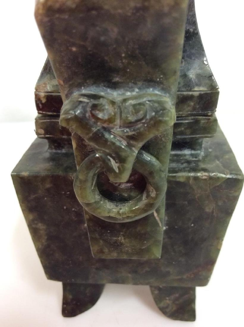 Carved Natural Stone Footed Dragon Vessel - 4