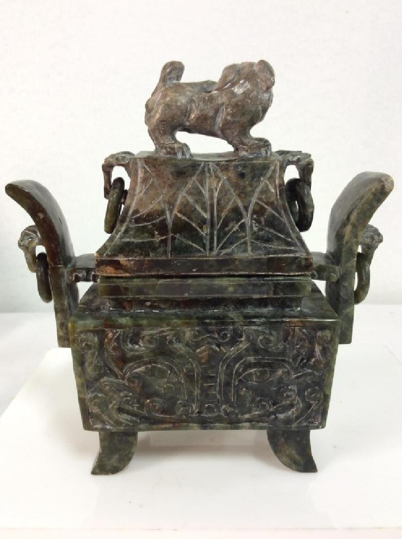 Carved Natural Stone Footed Dragon Vessel - 5