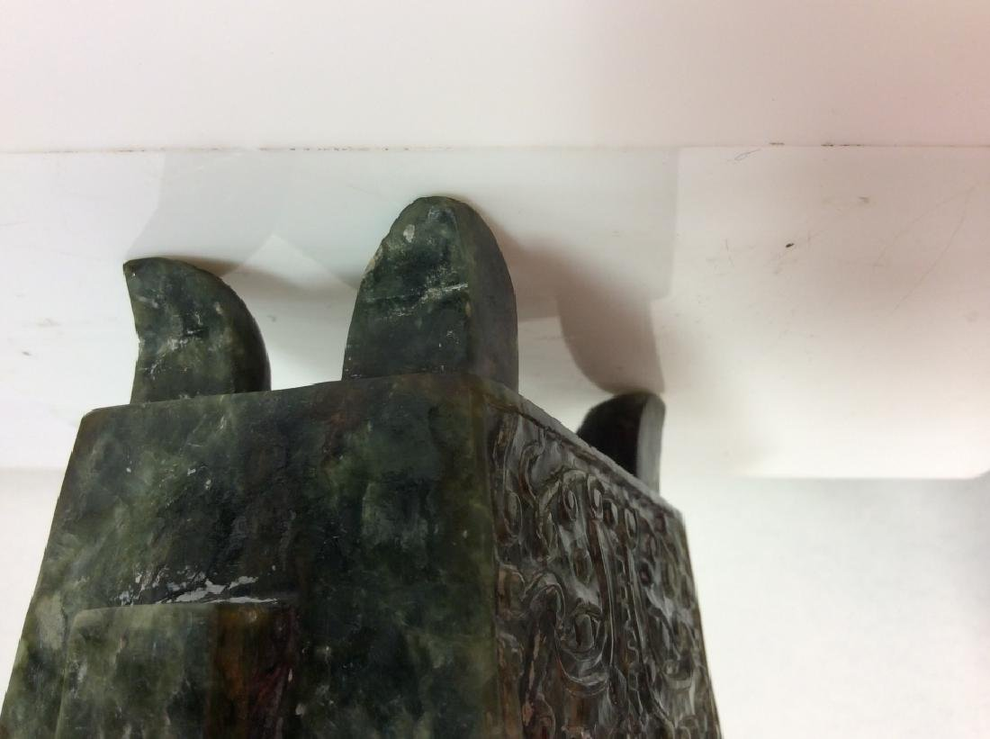 Carved Natural Stone Footed Dragon Vessel - 7