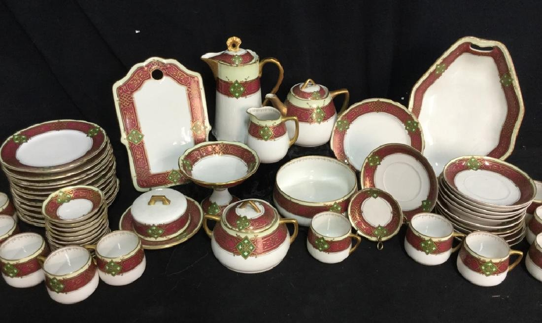 56 piece Russian Painted Porcelain Dinner Servicet