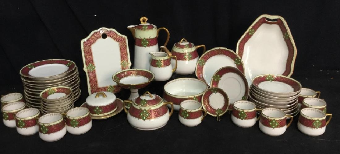 56 piece Russian Painted Porcelain Dinner Servicet - 2