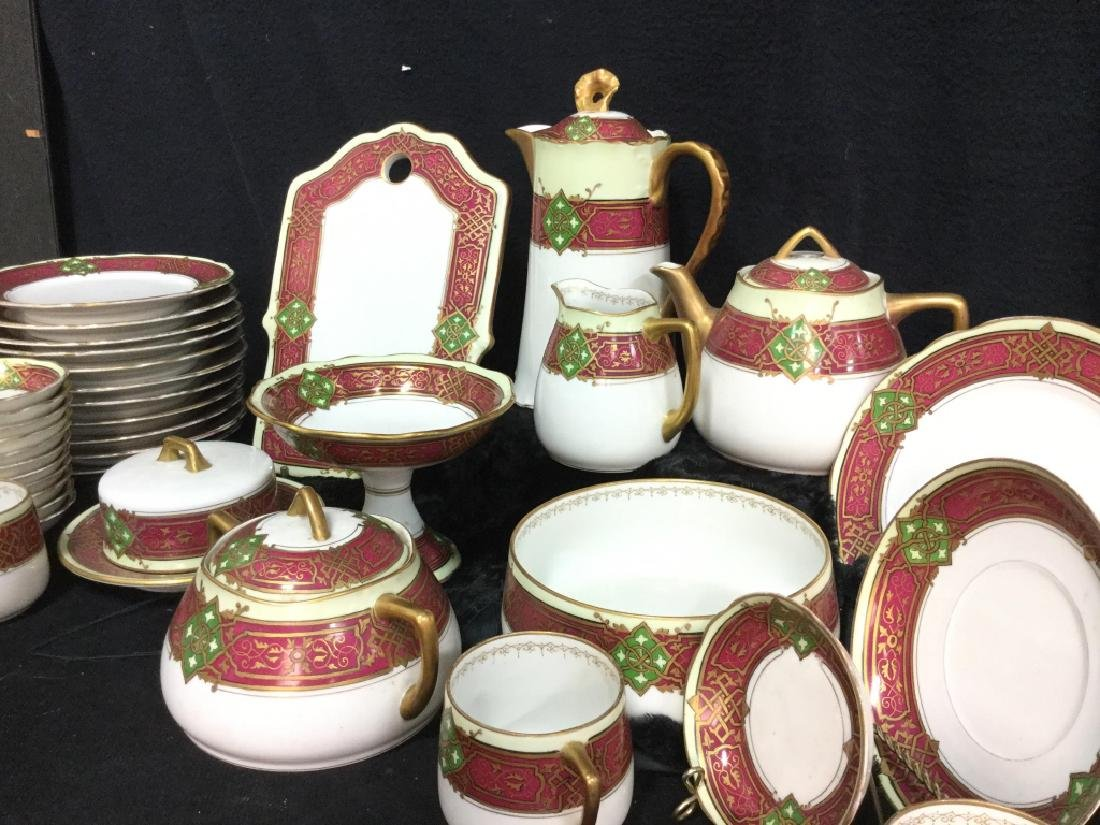 56 piece Russian Painted Porcelain Dinner Servicet - 4