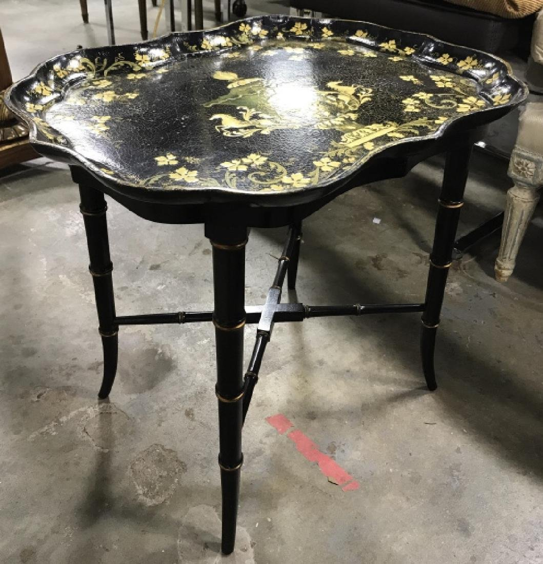 Black & Gold Toned Ornately Detailed Tray Table - 4