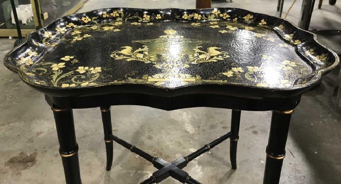 Black & Gold Toned Ornately Detailed Tray Table - 7