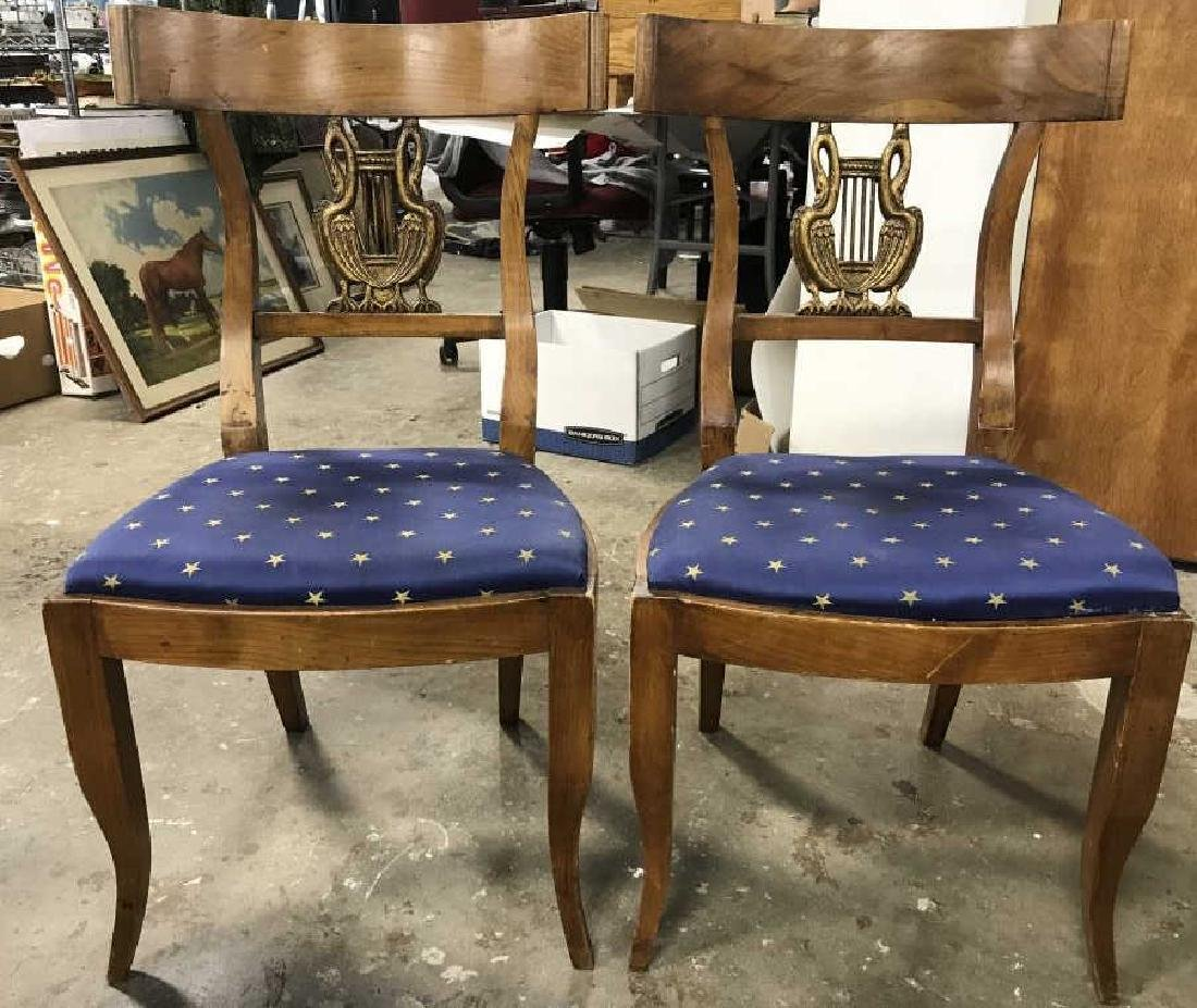 Pair Vintage Carved Wooden Chairs